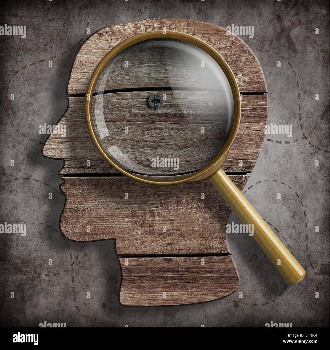 Cervello o problema di psicologia del concetto di ricerca Immagini Stock