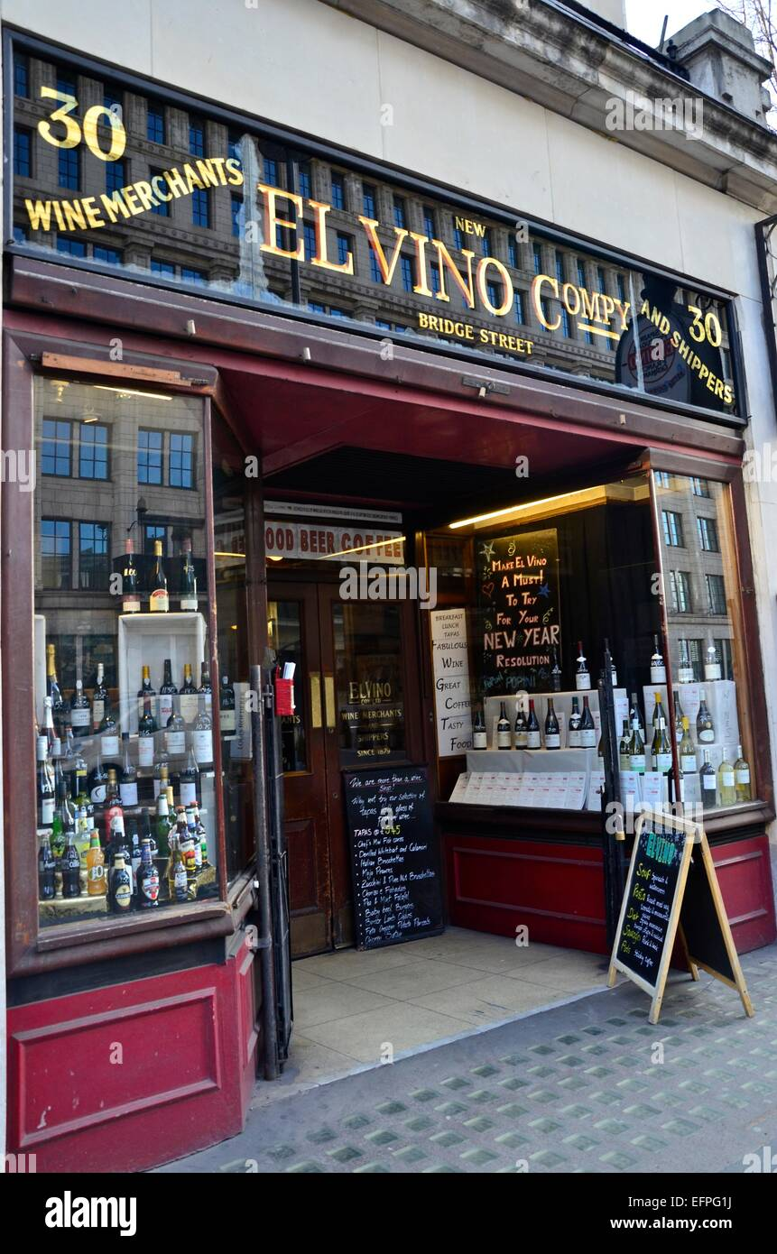 El Vino Wine Shop, New Bridge Street, Blackfriars, London, Regno Unito Immagini Stock