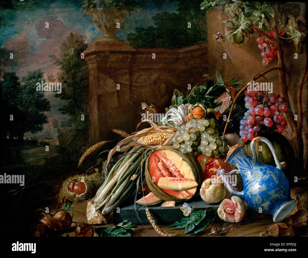 Ancora in vita con la frutta e la verdura prima di un giardino balaustra 1658 Jan Davidsz de Heem 1606 - 1684 Paesi Bassi Paesi Bassi Foto Stock