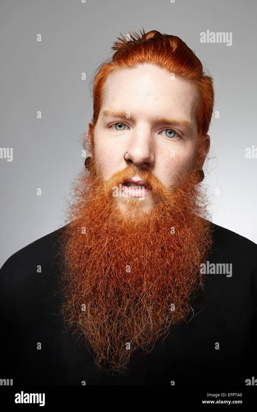 Ritratto in studio di staring giovane con i capelli rossi e la barba ricoperta Immagini Stock