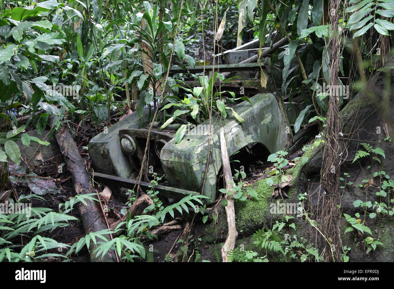 Darién Gap.Border Crossing Panama Colombia da Land Rover Immagini Stock