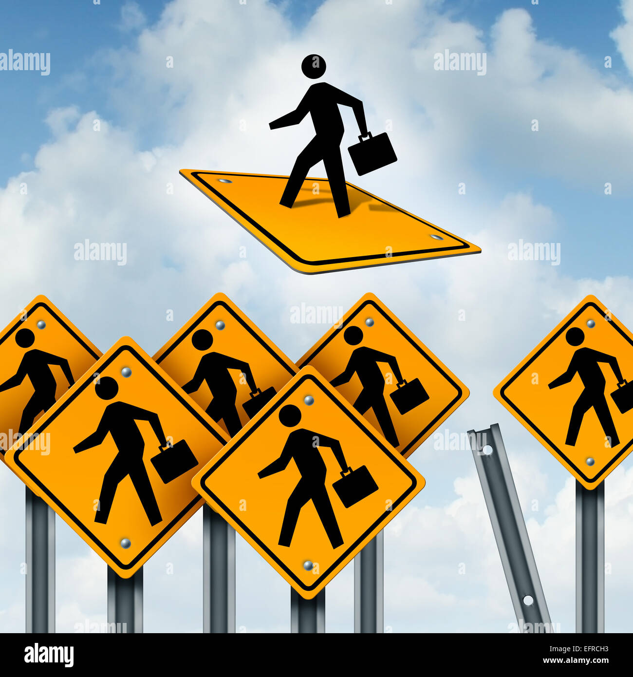 Concetto di vincitore e leader della concorrenza come un gruppo di segnaletica stradale con i lavoratori ed un ambizioso Foto Stock