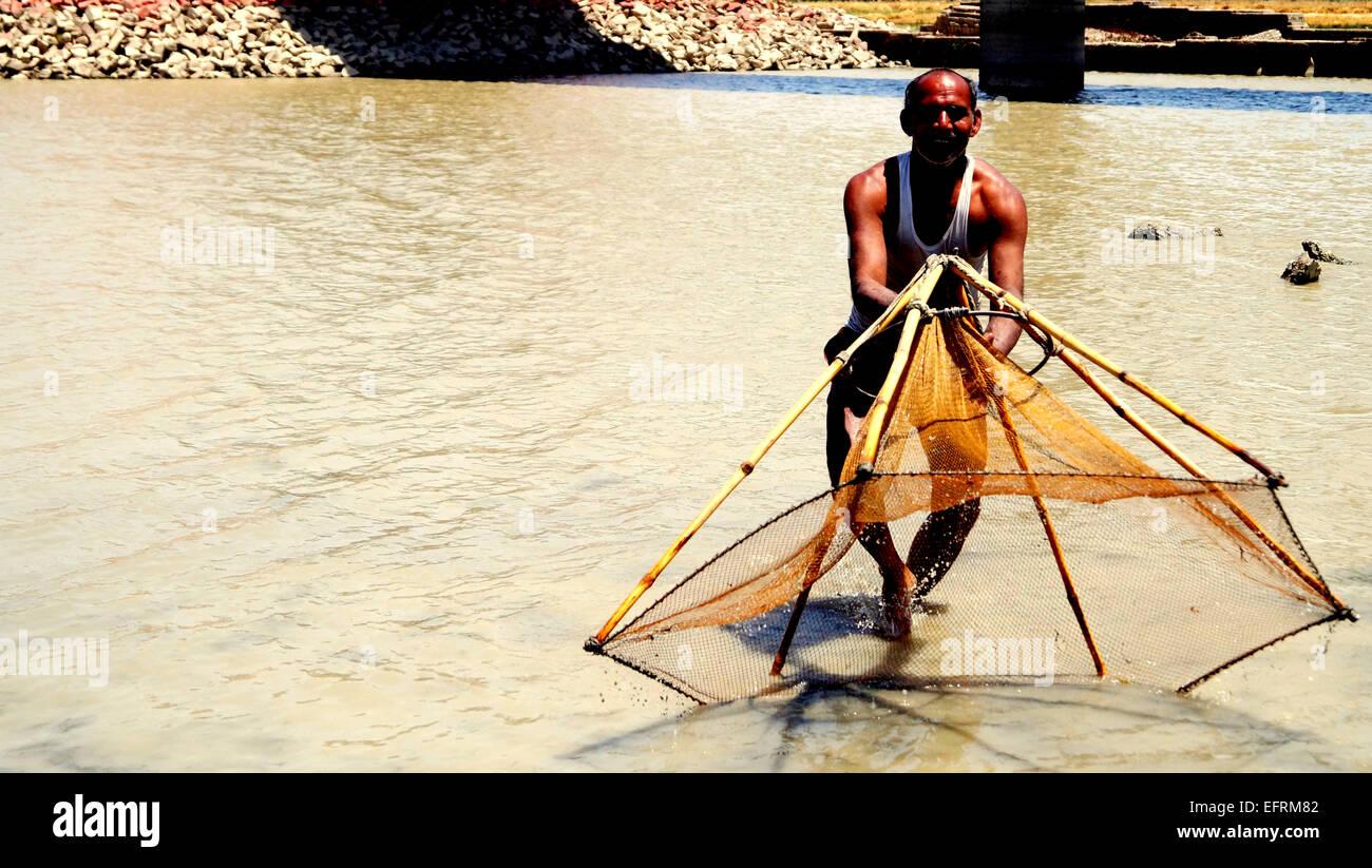 Il paesaggio rurale della pesca acqua India sostentamento Immagini Stock