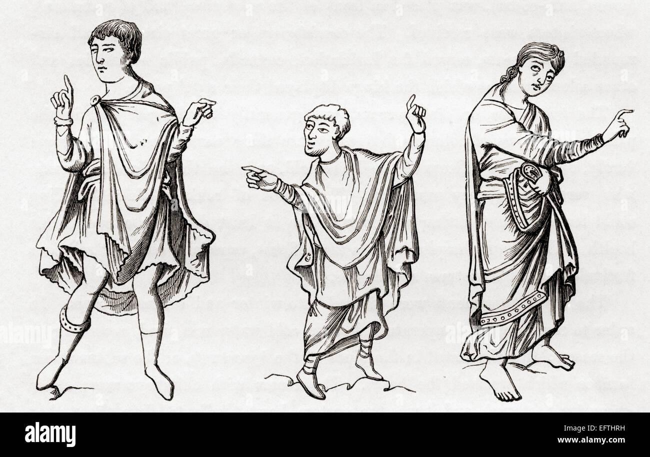 I costumi della nobiltà dal settimo al nono secolo. Immagini Stock