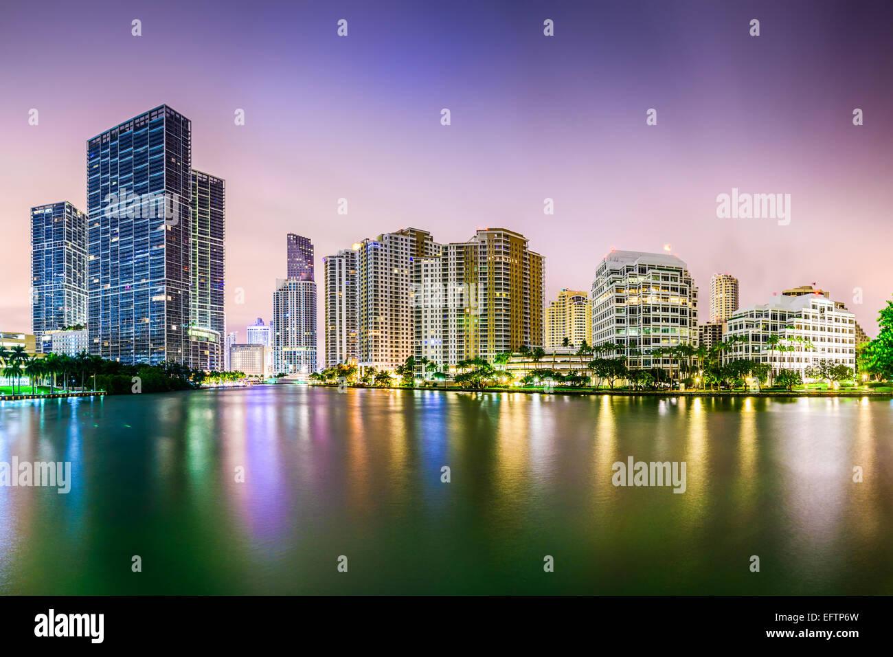 Miami, Florida lo skyline della citta'. Immagini Stock