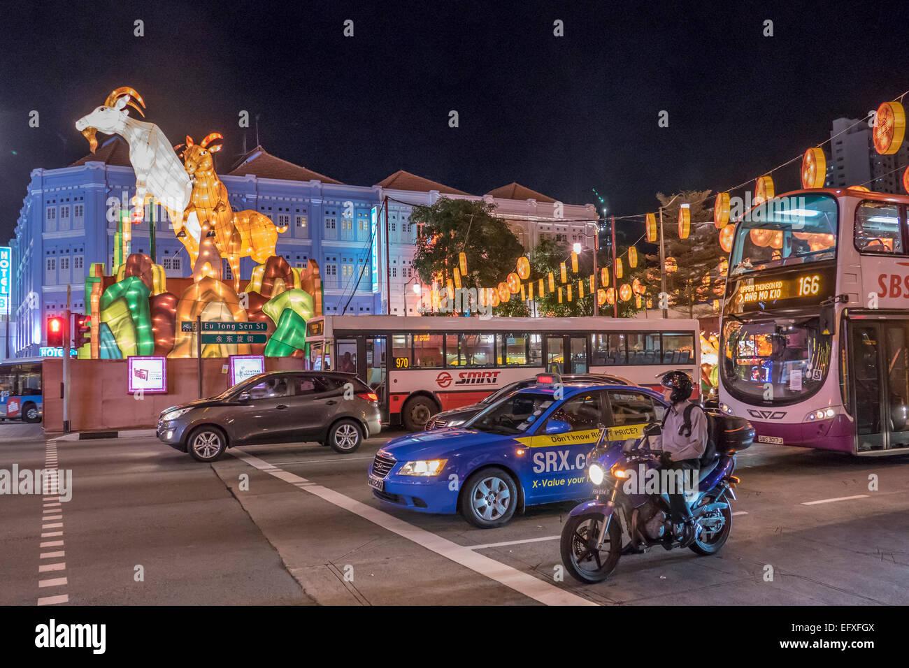 Singapore, Chinatown il traffico a capodanno nuovo anno lunare Immagini Stock