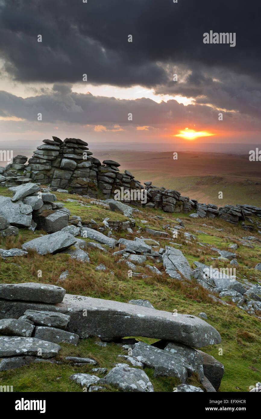 Tor ruvida Bodmin Moor; Cornovaglia; Regno Unito Immagini Stock