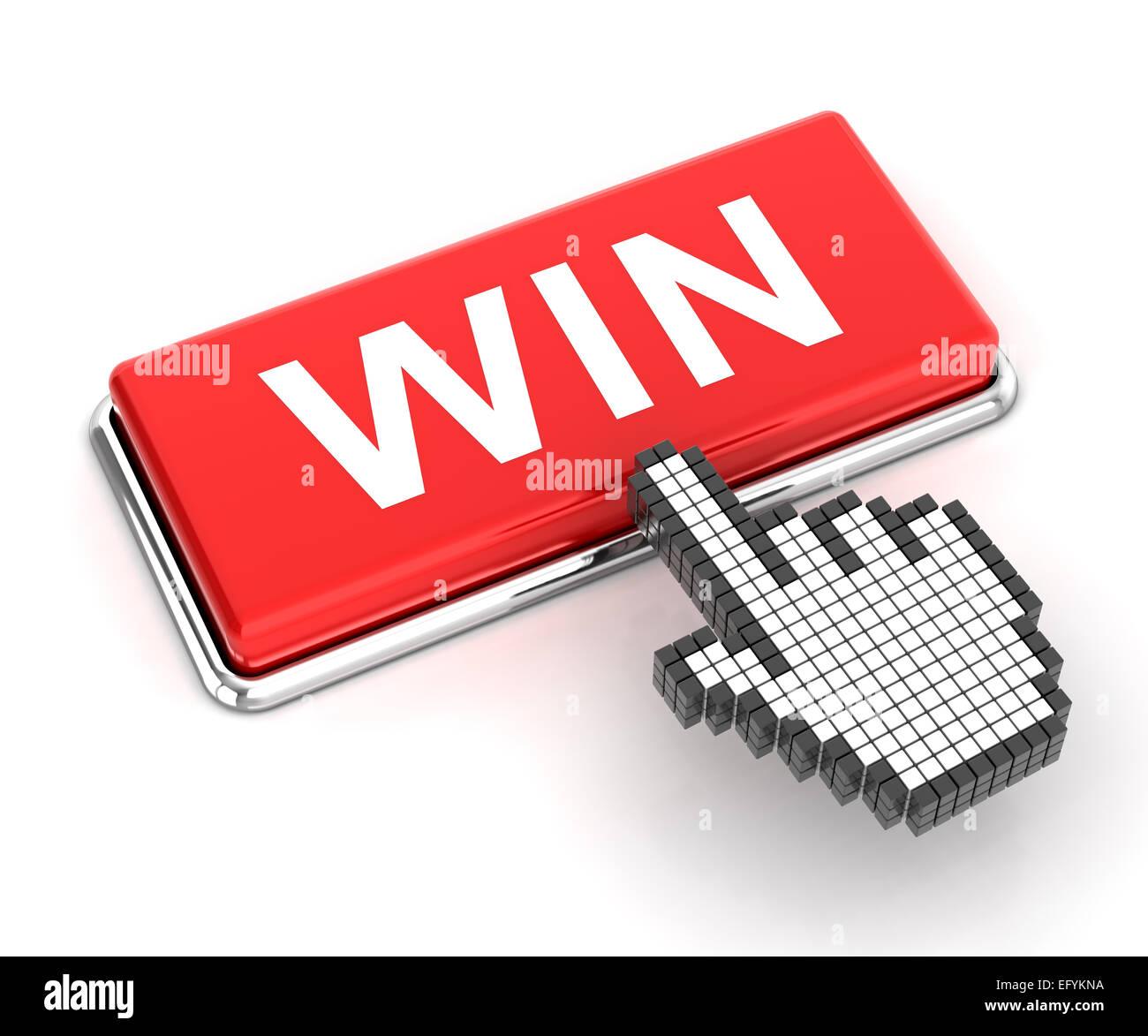 Cursore mano facendo clic su un pulsante di vincere, 3D render Immagini Stock