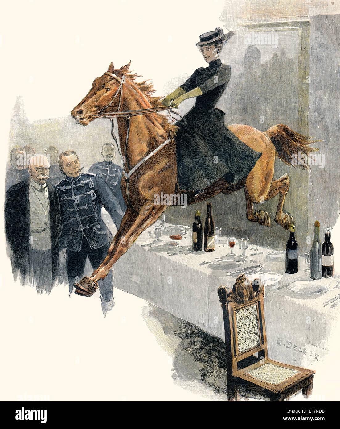 Una donna su un cavallo che salta sopra un tavolo per la cena in un ristorante, ca. 1895 Immagini Stock