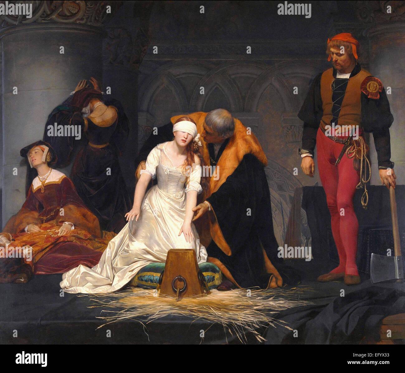Paolo Delaroche l esecuzione di Lady Jane Grey Immagini Stock