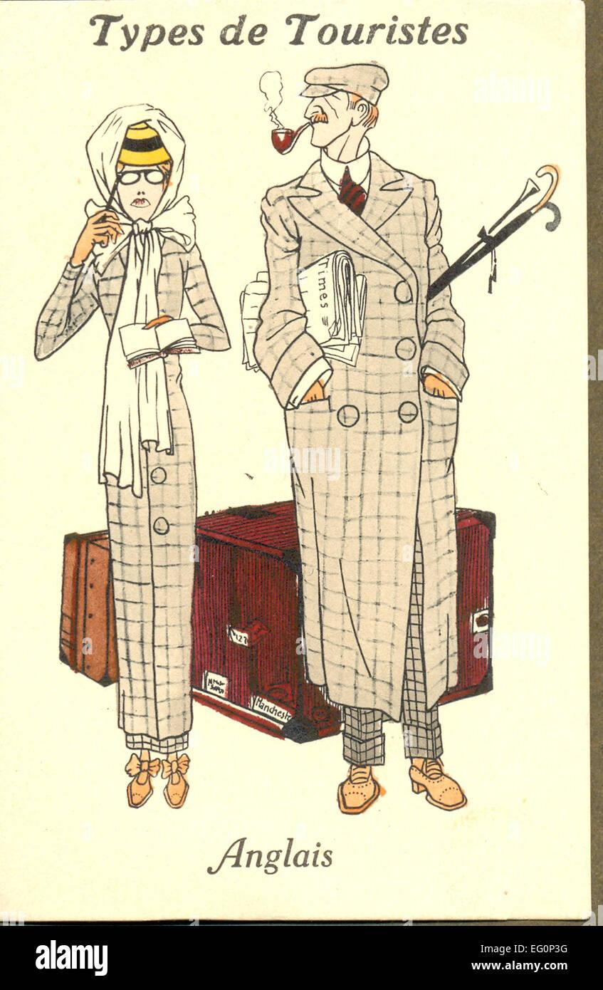 Cartolina francese mostra stereotipato turisti inglese Foto Stock