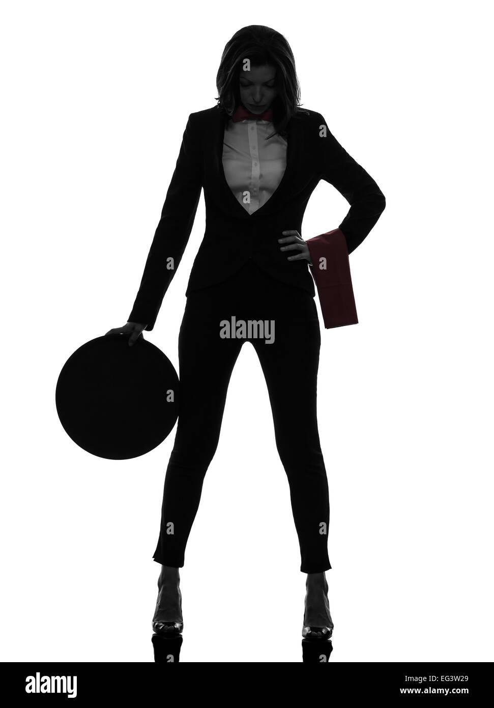 Una donna cameriere butler stanchi esaurito in silhouette su sfondo bianco Immagini Stock