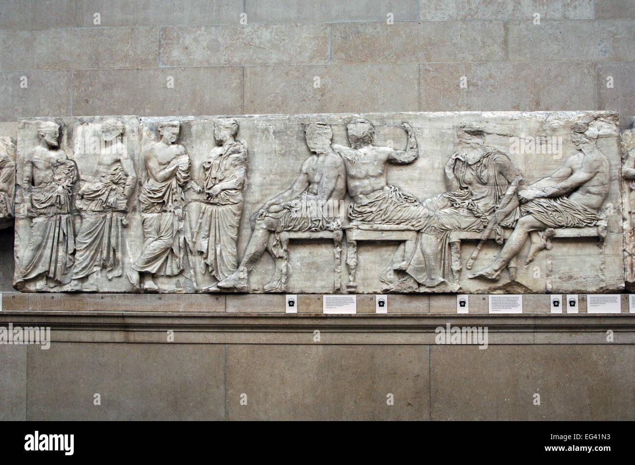 Il fregio del Partenone. Il lato est. 447-432BC. Età greca classica. Una parte della sezione centrale del fregio Immagini Stock