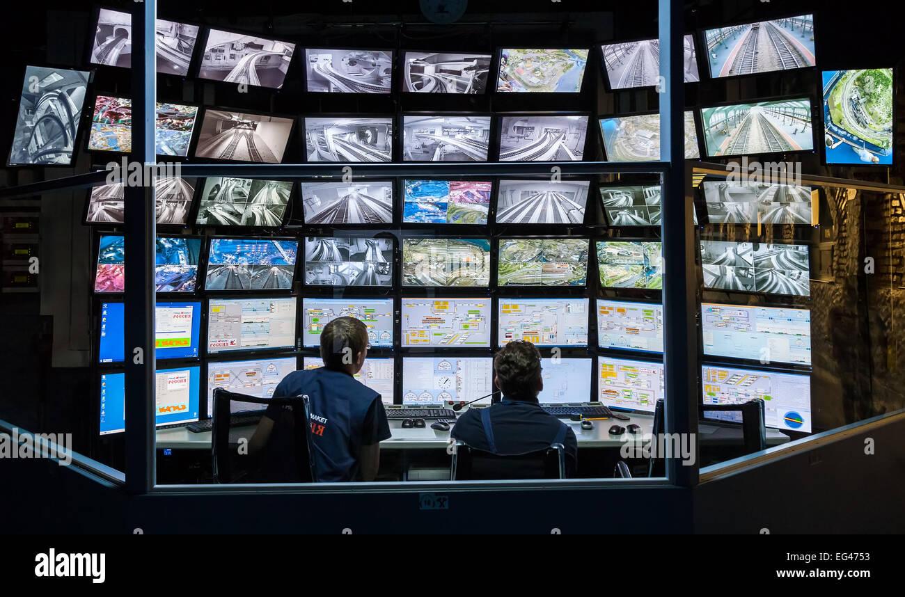 Sala di controllo per l'attrazione Grand layout russo. Immagini Stock