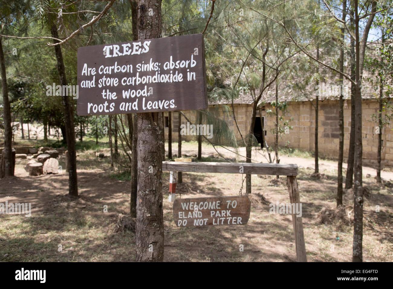 Avviso Gli alberi assorbono anidride carbonica Lungalunga Scuola Primaria Gilgil Kenya Immagini Stock