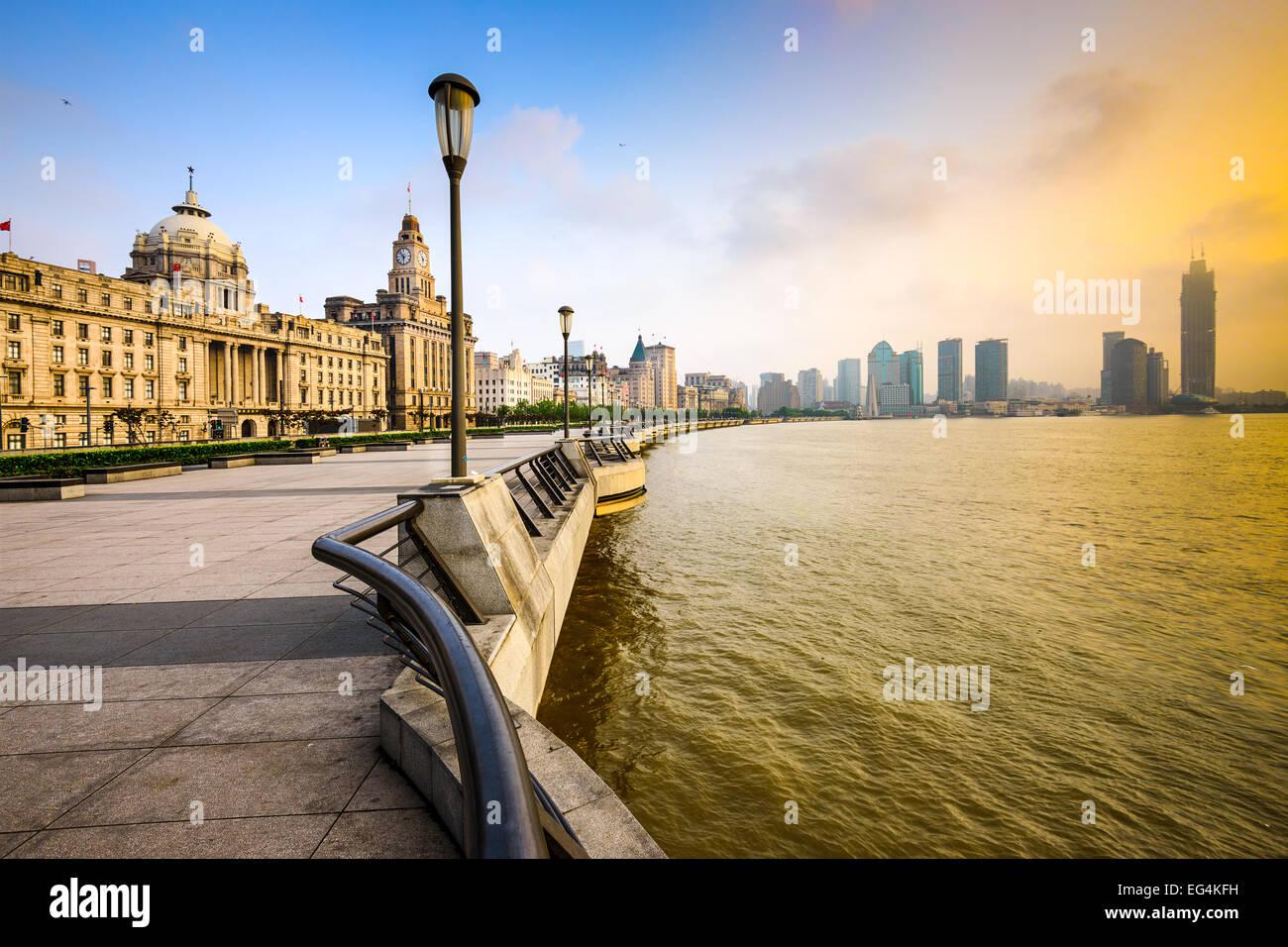 Shanghai, Cina cityscape al Bund. Immagini Stock