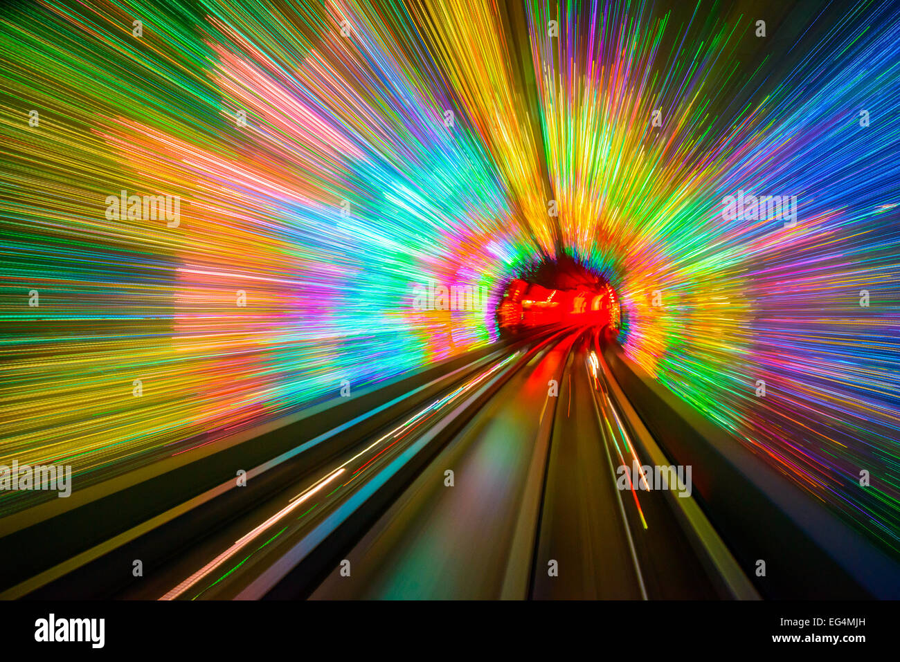 Motion Blur in Shanghai Sightseeing Tunnel. Immagini Stock