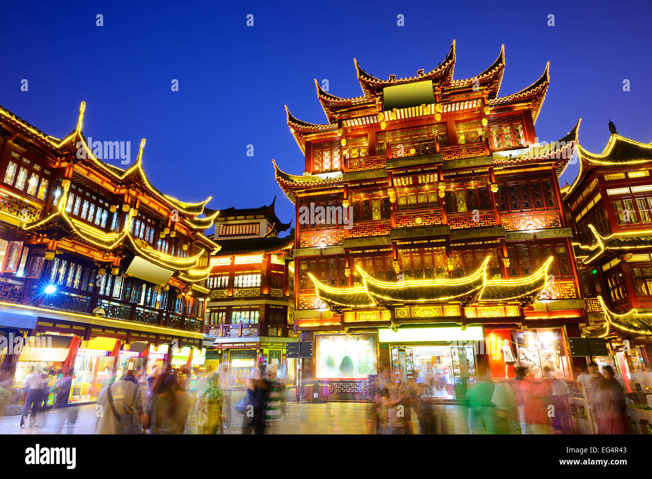 Shanghai, Cina all' Yuyuan Garden District. Immagini Stock
