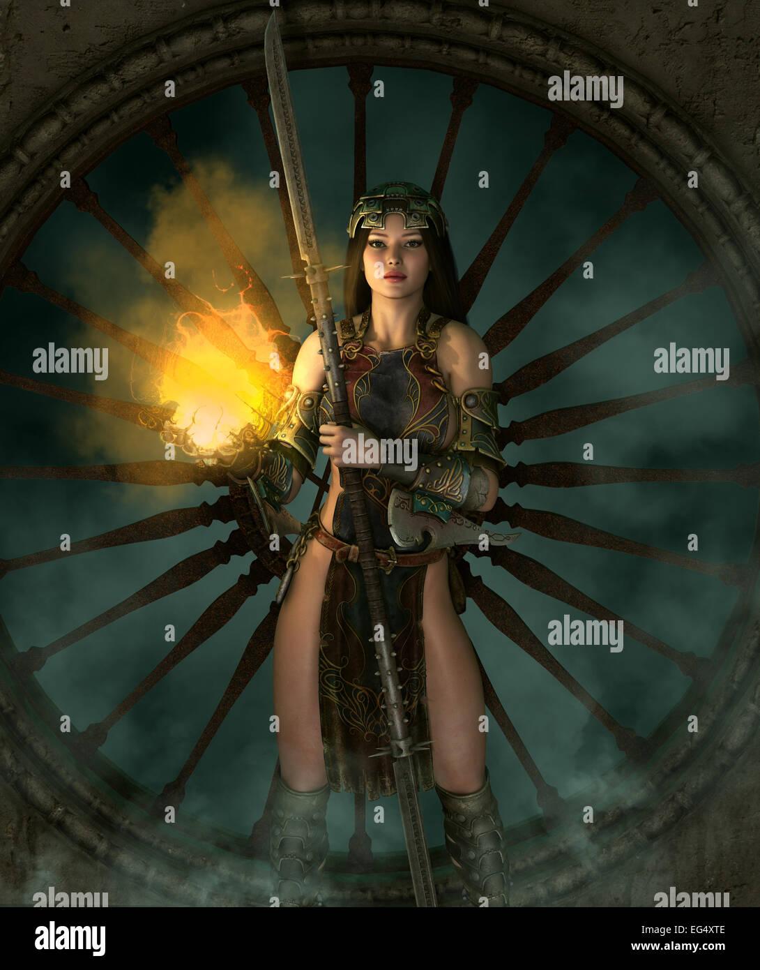 Computer grafica 3D di una giovane donna con un vestito di fantasia e un'arma Immagini Stock