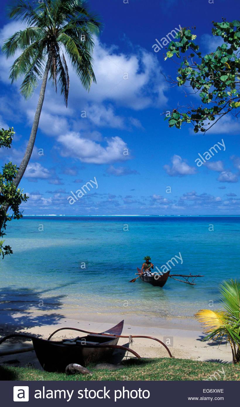 Vogatore polinesiano, spiaggia, Huahine beach, Polinesia Francese Immagini Stock