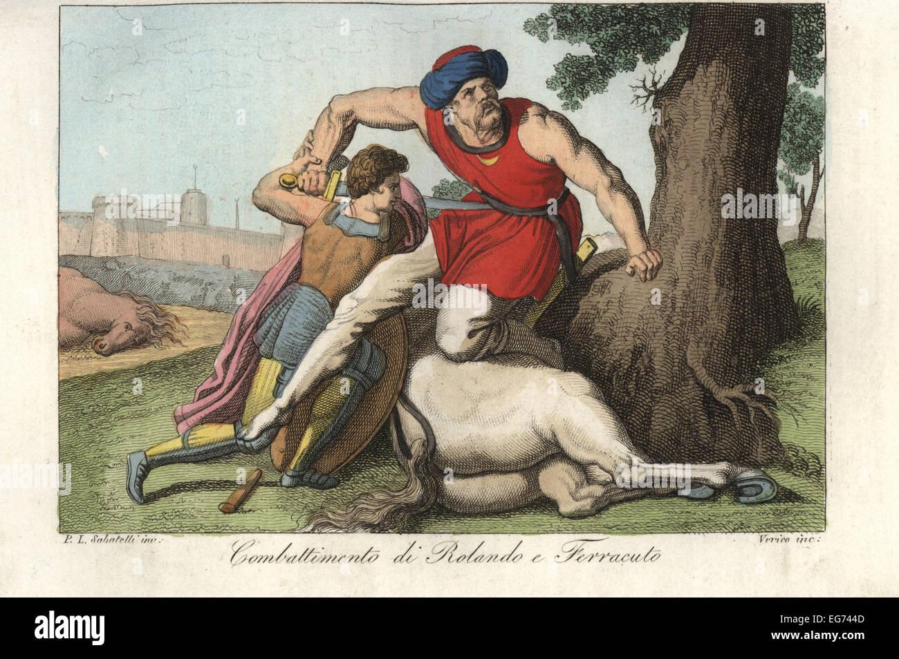 Il combattimento tra Roland e il gigante Ferracut dalla leggenda di Carlo Magno. Immagini Stock