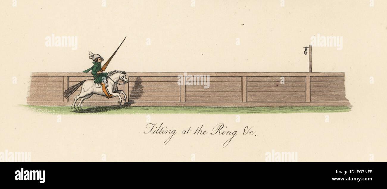 Uomo a cavallo con lancia il ribaltamento in corrispondenza di un anello, XIV secolo. Immagini Stock
