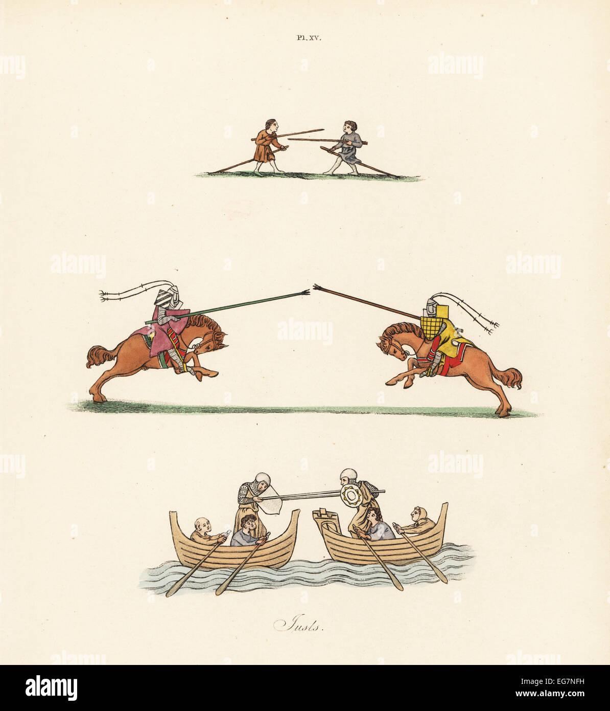 Ragazzi e cavalieri alla giostra, XIV secolo. Immagini Stock