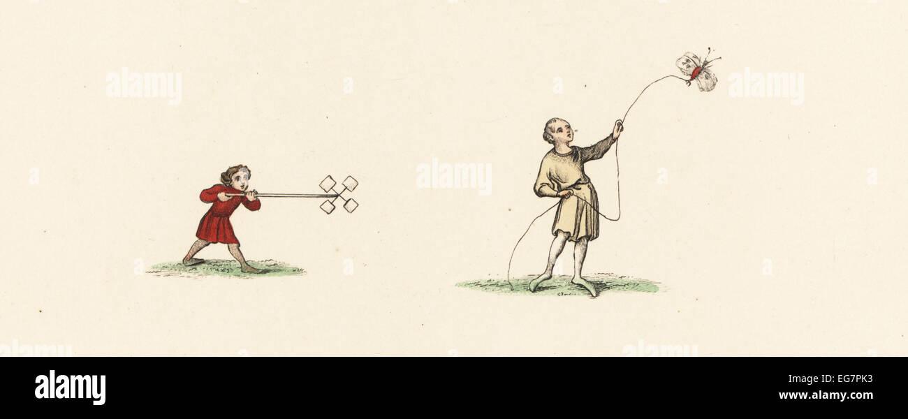 Medieval Giochi Per Bambini Ragazzo Con Il Mulino A Vento Di Carta