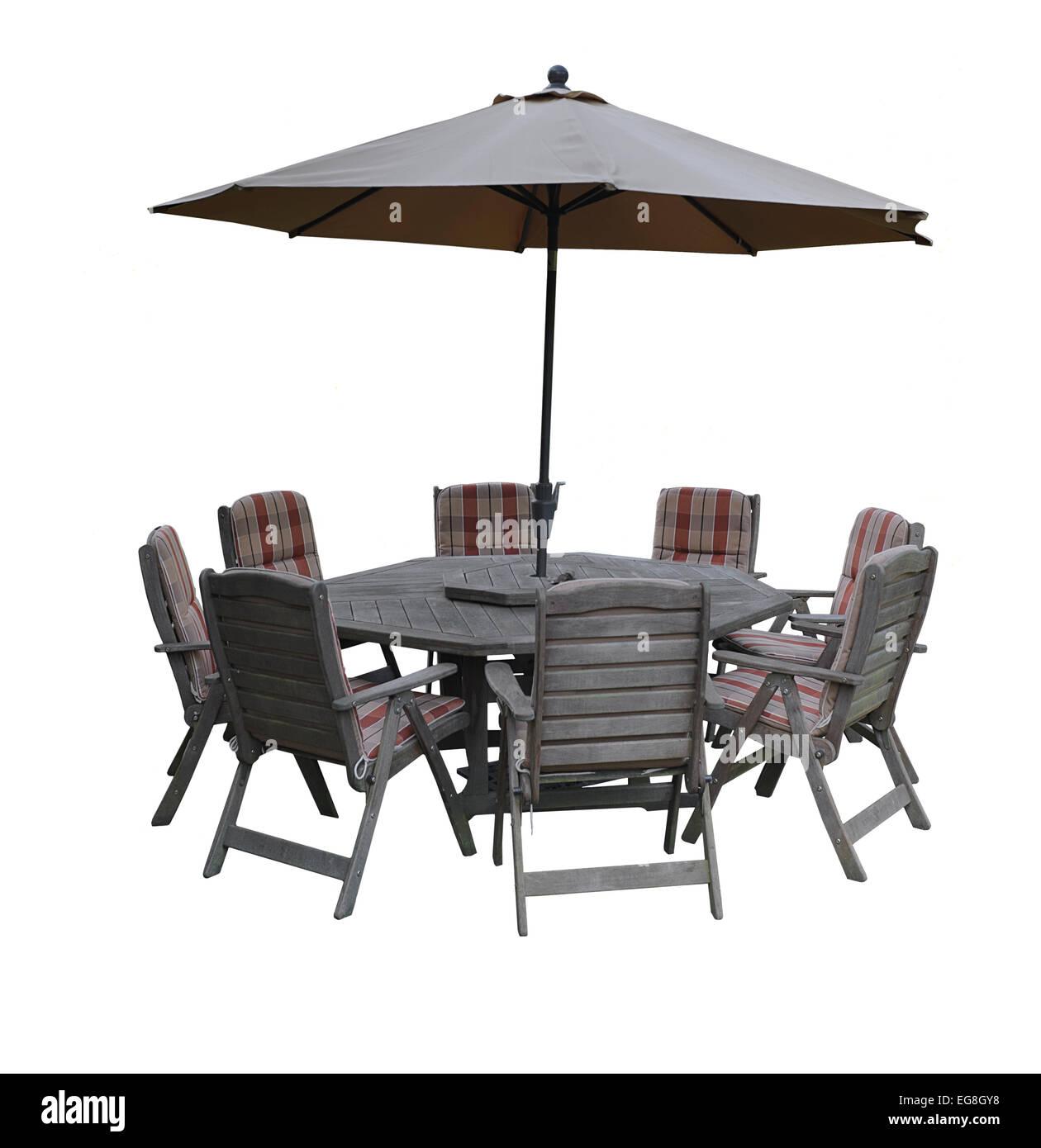 Set di jarrah patio in legno mobili su sfondo bianco Immagini Stock