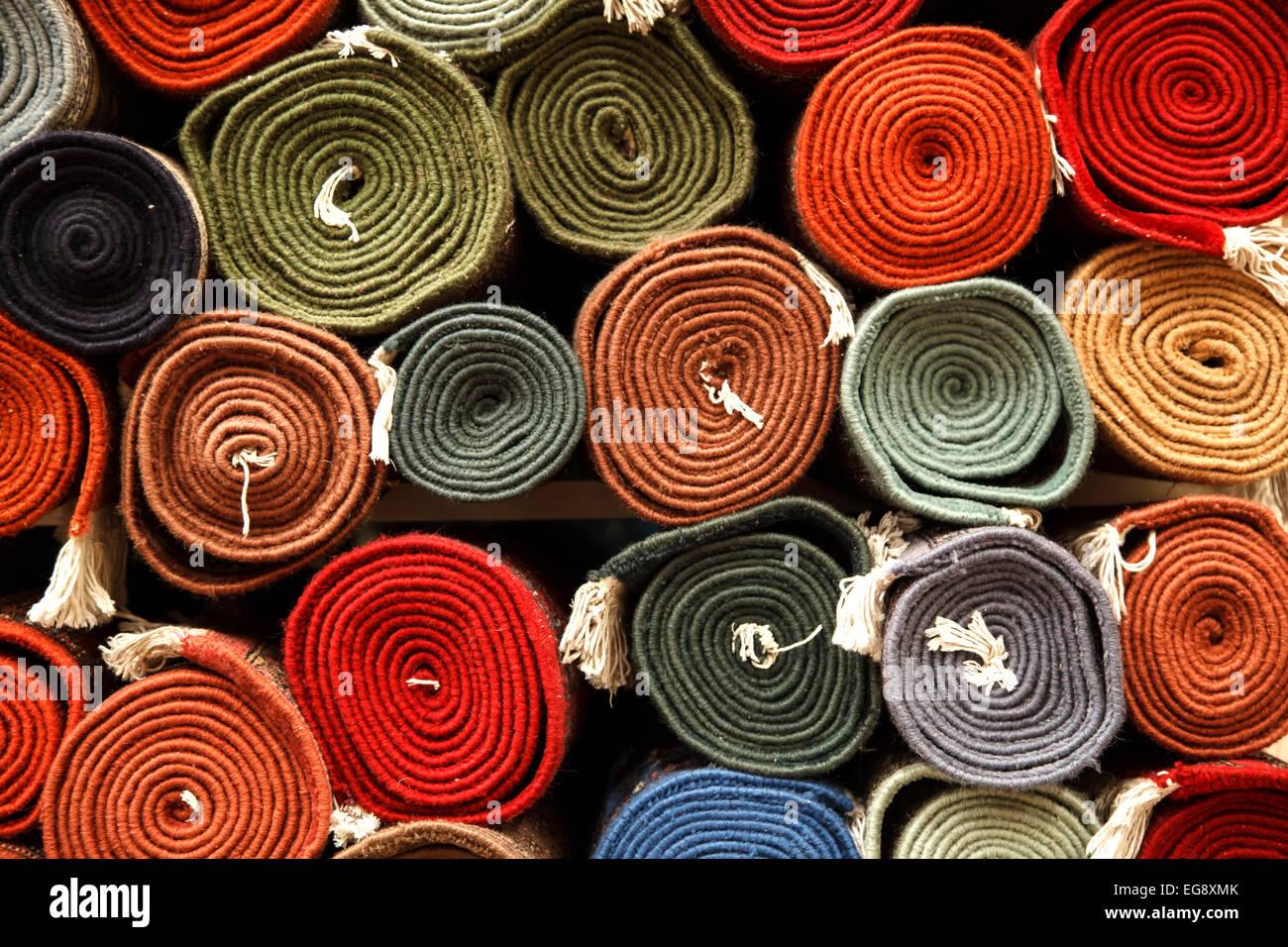 Rulli per tappeti, Jaipur, Rajasthan, India Immagini Stock