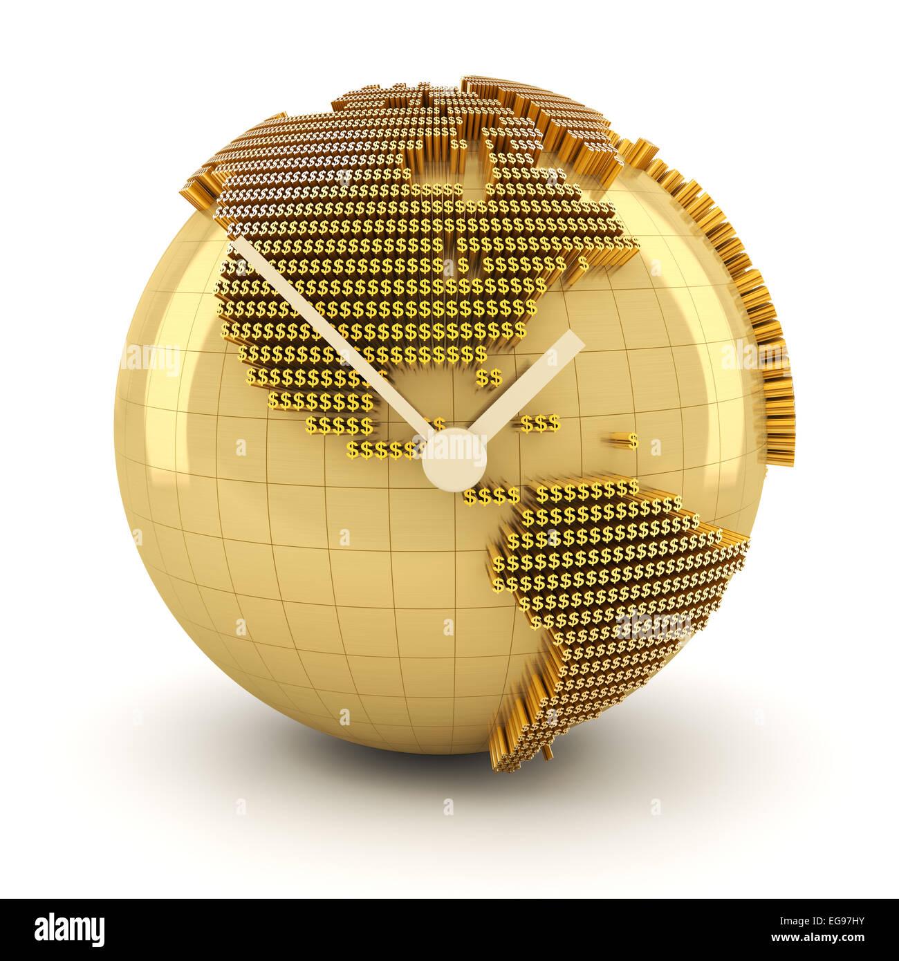 Tempo per il global investment, 3D render Immagini Stock
