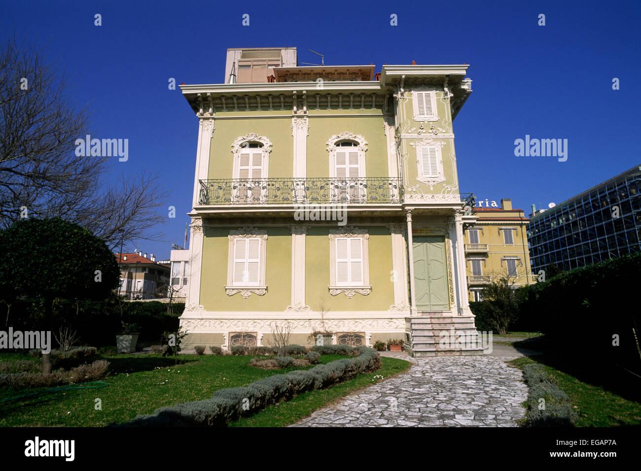 L'Italia, le marche, pesaro, villino Ruggeri, tipico edificio in stile liberty Immagini Stock