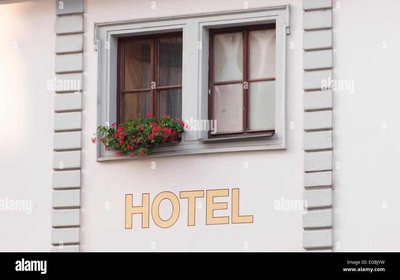 Generico segno hotel nel centro storico di Praga. Immagini Stock