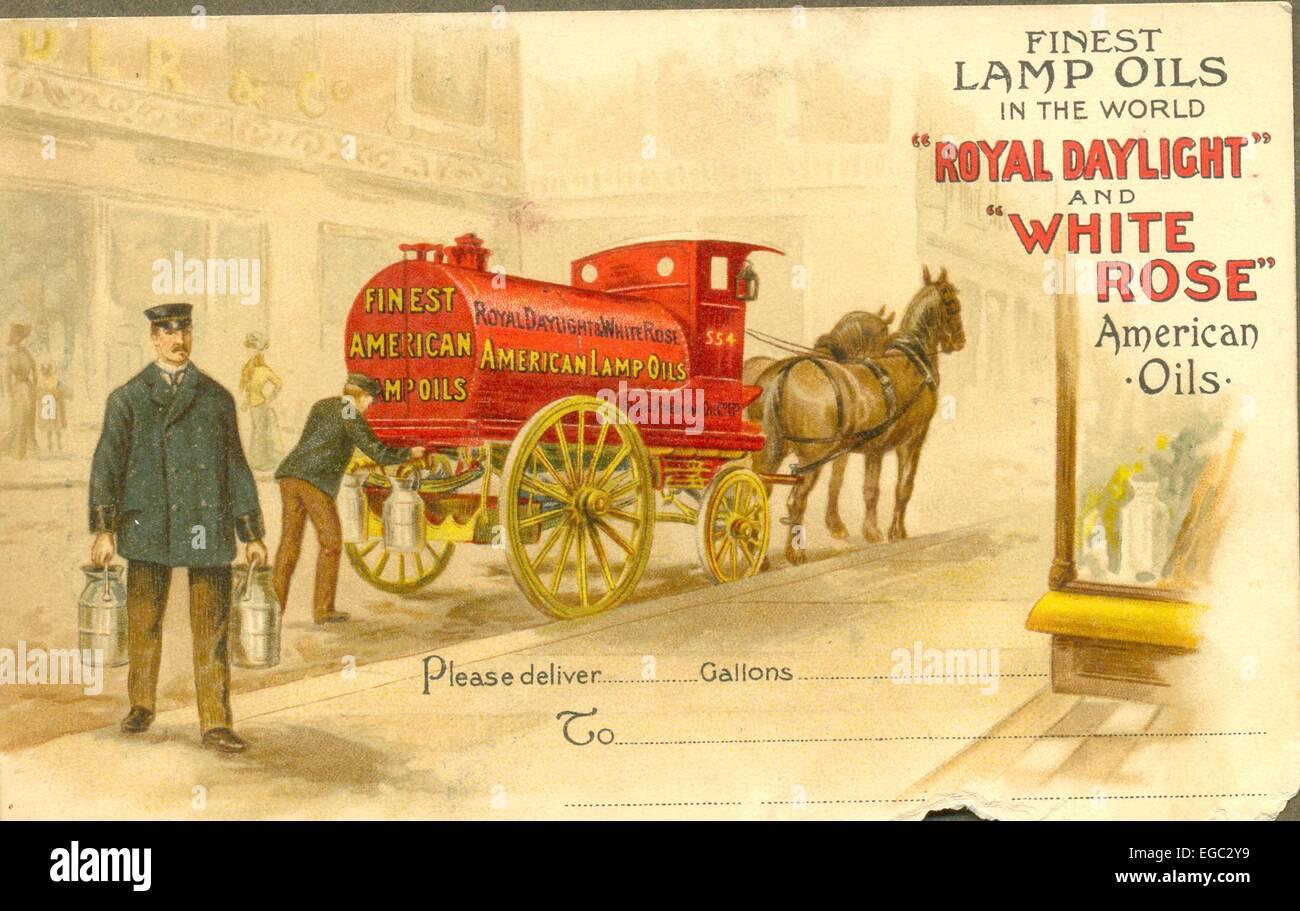 Cartolina pubblicitaria per 'Royal Daylight' e 'White Rose' American oli. Foto Stock