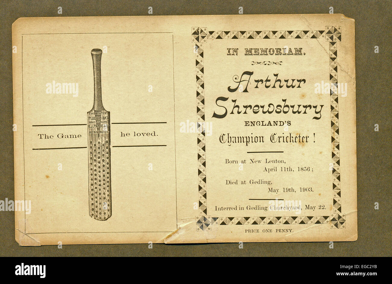 "Scheda memoriale per Arthur Shrewsbury, ""l'Inghilterra del campione Cricketer' Foto Stock"