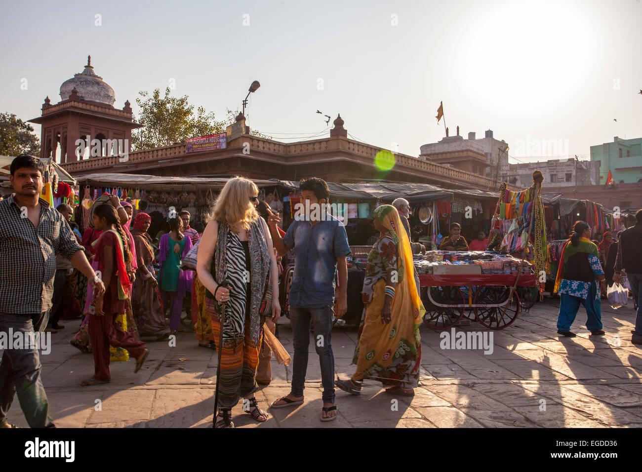 Il mercato indiano scena Jodhpur Immagini Stock