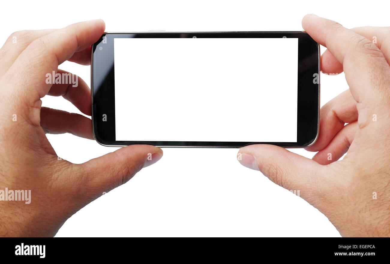 Scattare foto con il cellulare.Le tecnologie più recenti. Due tracciato di ritaglio Immagini Stock