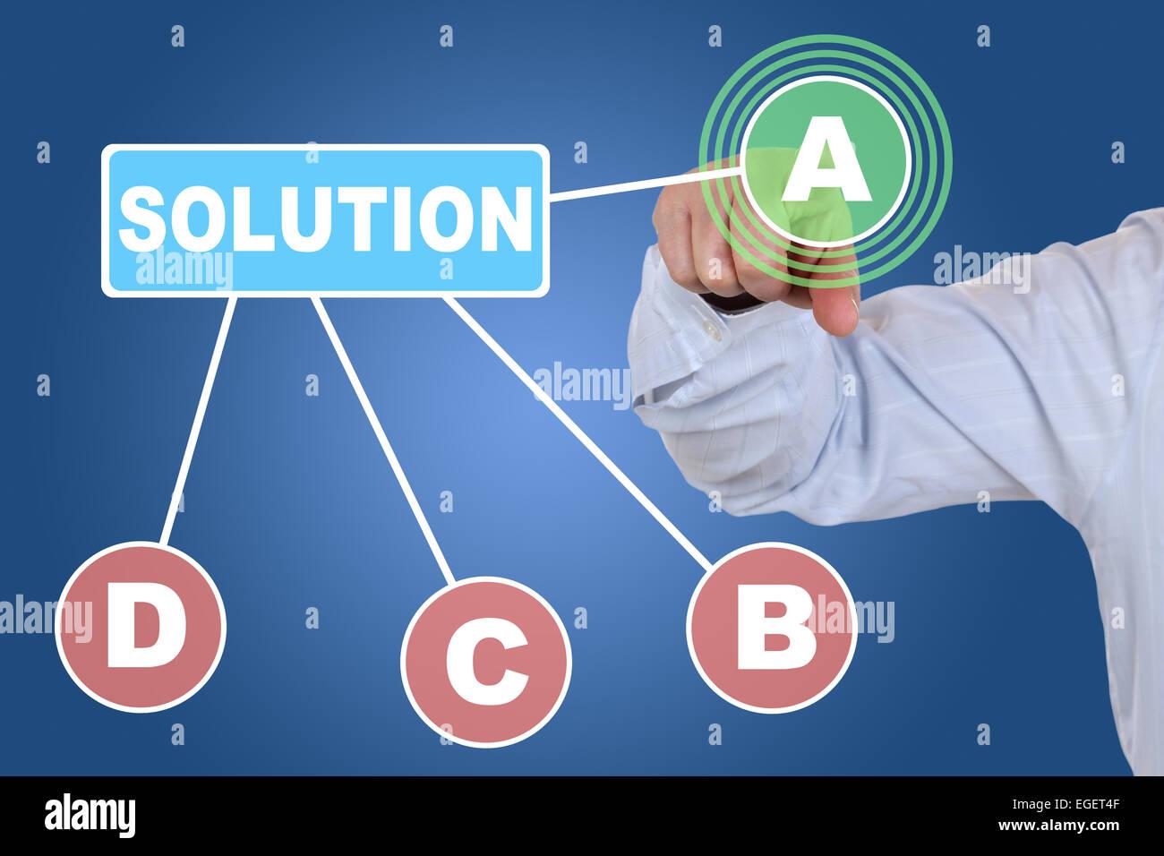 Imprenditore scegliendo una casella di scelta per la concezione di business, prendere una decisione Immagini Stock