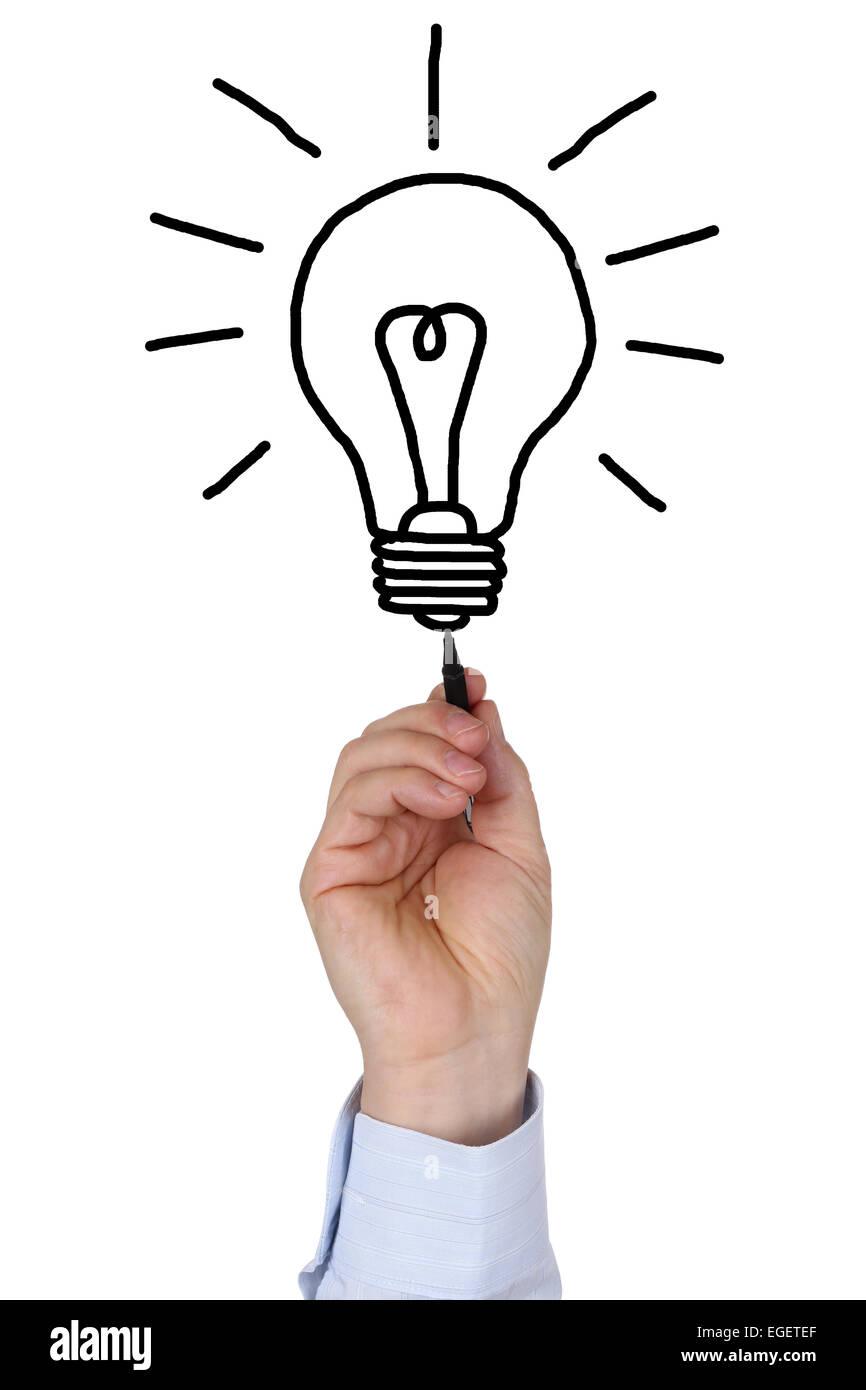 Imprenditore Il Disegno Di Una Lampadina Di Luce Come Un Simbolo Di