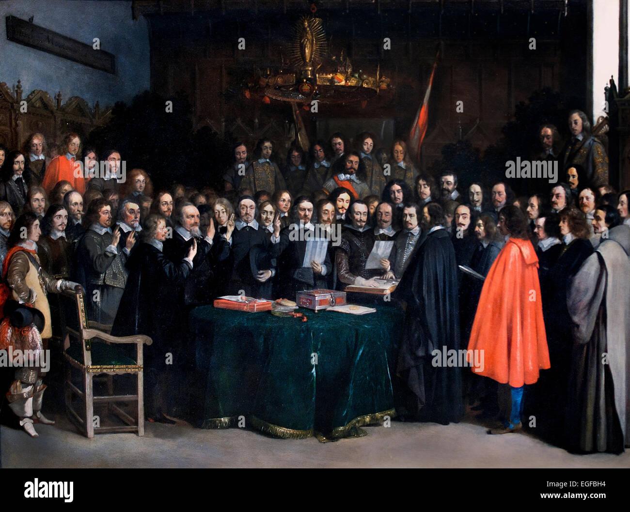 La prestazione del giuramento di ratifica del trattato di Münster in 1648 da Gerard ter Borch Paesi Bassi Immagini Stock