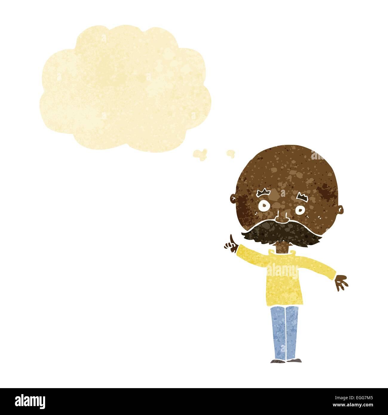 Cartoon uomo calvo con l idea di fumetto pensiero illustrazione