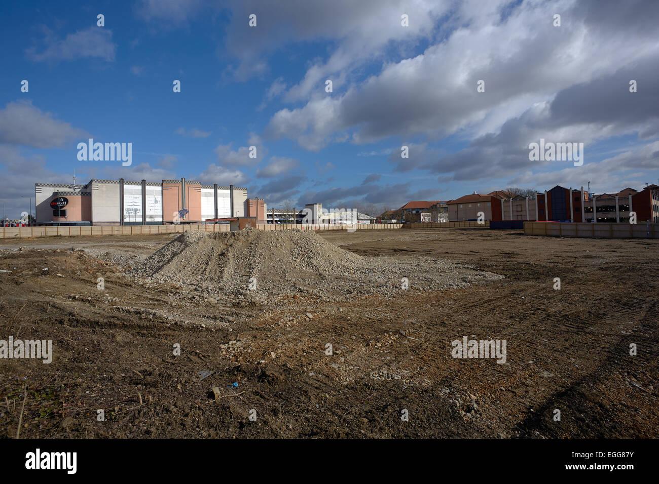 Non utilizzate il sito brownfield in Bexleyheath possedute da Tesco Immagini Stock