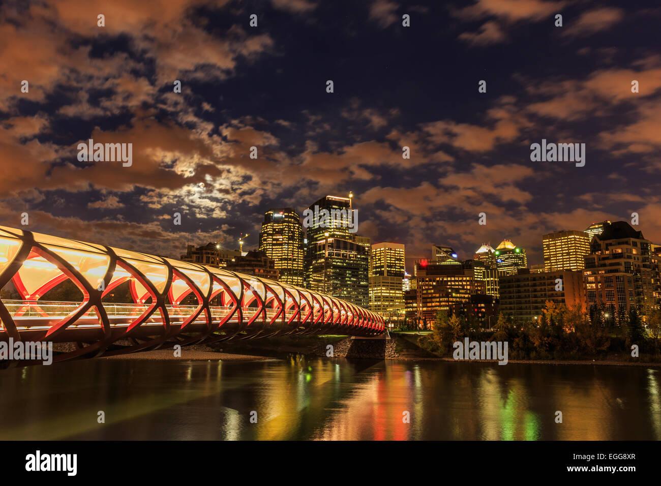 Calgary di notte Immagini Stock