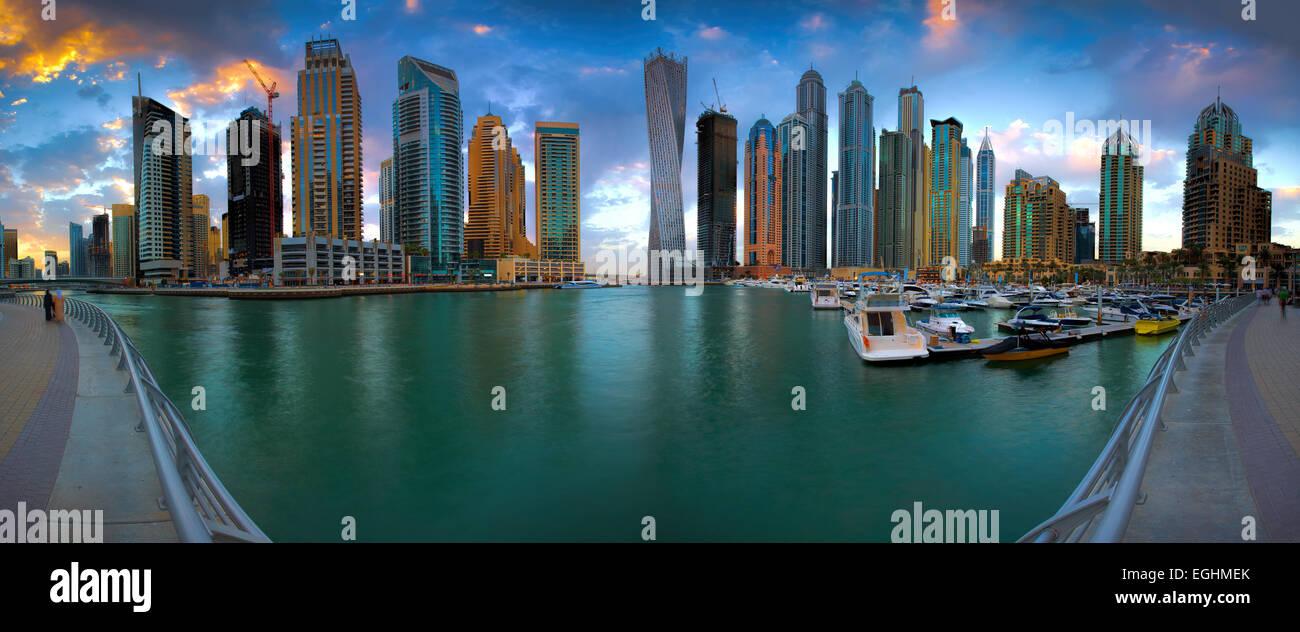 Dubai Marina Panorama Immagini Stock