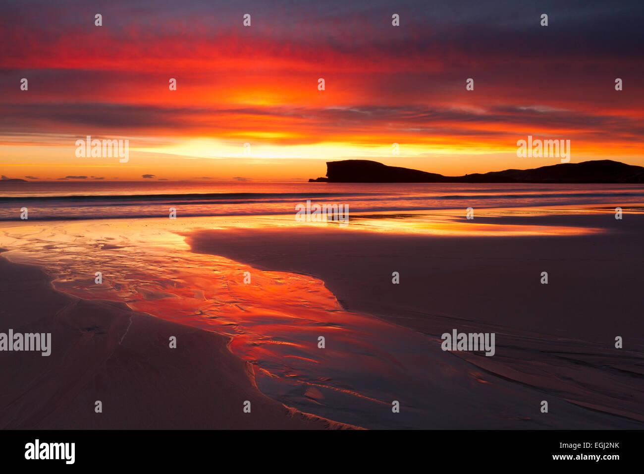 Tramonto a Oldshoremore Beach, Sutherland, a nord-ovest della Scozia Foto Stock
