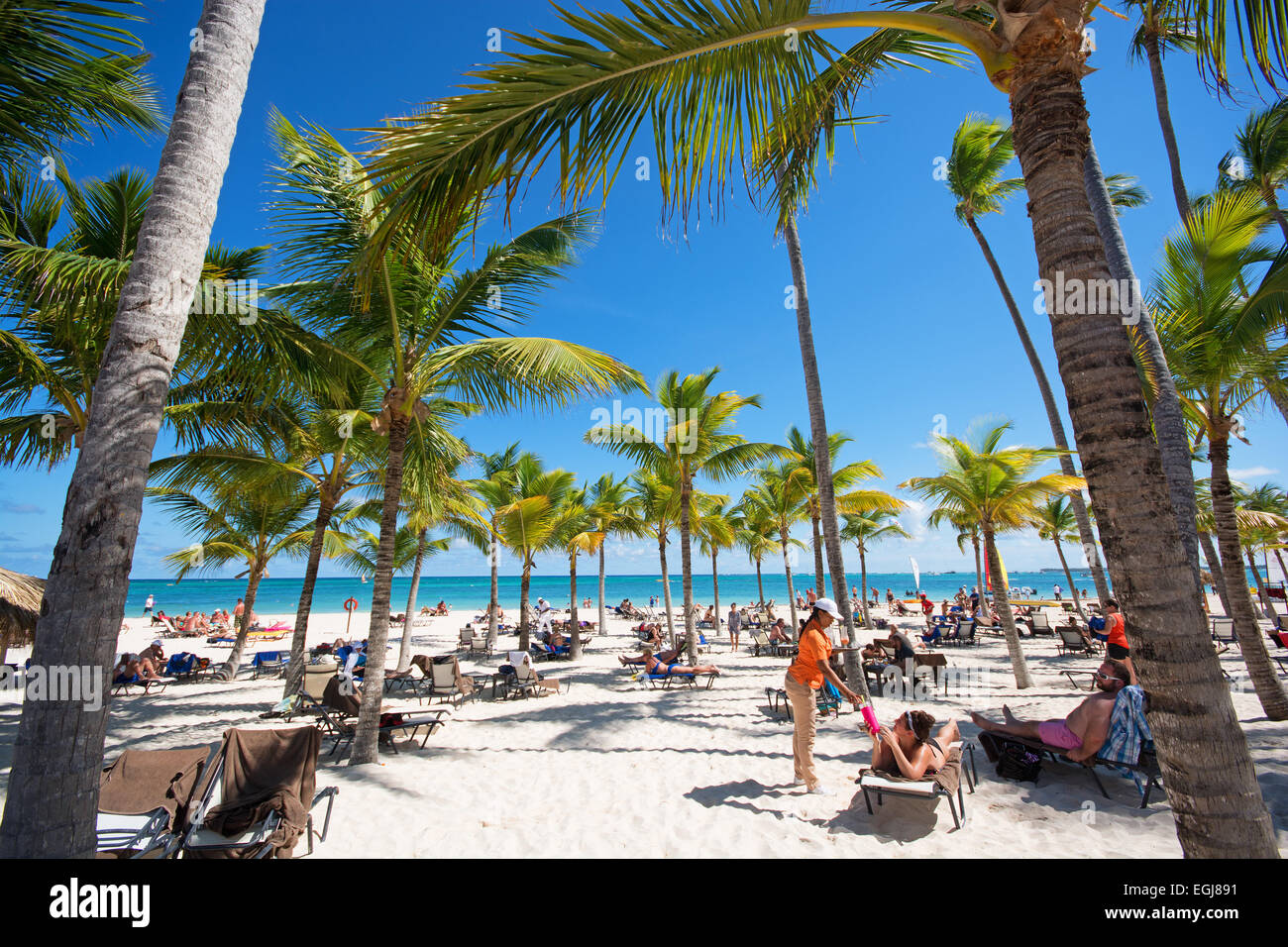 Repubblica Dominicana. Spiaggia di Punta Cana. 2015. Immagini Stock