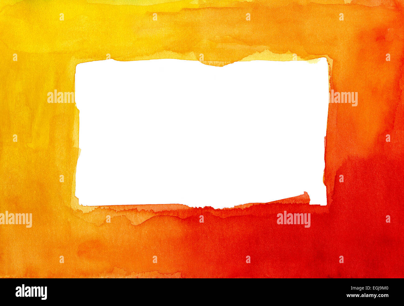 Rosso e giallo telaio ad acquerello Immagini Stock