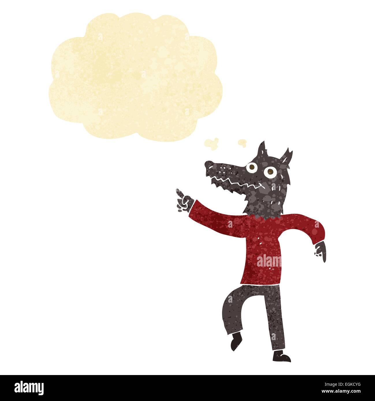 Cartoon uomo lupo con fumetto pensiero illustrazione vettoriale