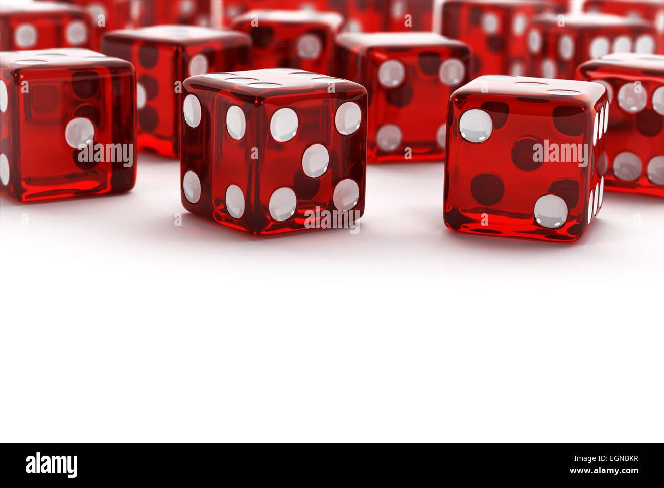 Molti rossi semi trasparente a dadini Immagini Stock