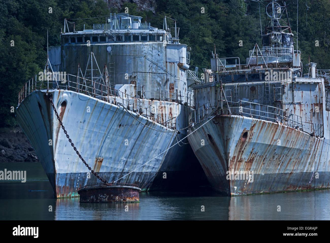 Nave cimitero di navi militari, Bretagna, Francia, Europa Immagini Stock